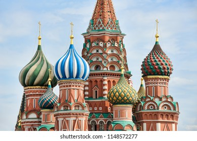 MOSCOW, RUSSIA - Colorful Onion-shaped Cupolas of St. Basil's Cathedral