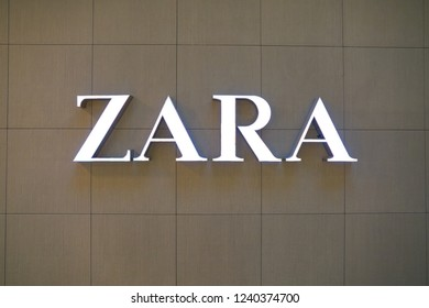 MOSCOW, RUSSIA - CRICA SEPTEMBER, 2018: close up shot of ZARA brand name on a wall at a store in shopping center in Moscow.