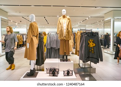 MOSCOW, RUSSIA - CRICA SEPTEMBER, 2018: interior shot of a Zara store in shopping center in Moscow.