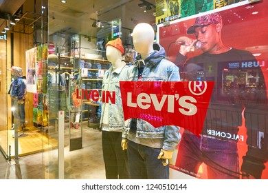 MOSCOW, RUSSIA - CRICA SEPTEMBER, 2018: close up shot of Levi's sign.