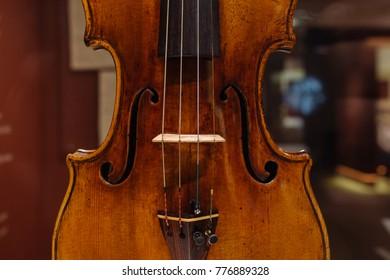 Moscow, Russia - Dec 13, 2017:  The Glinka National Museum - Violin, Antonio Stradivary, Cremona, Italy, 1707