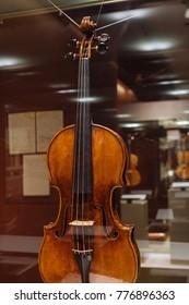 Moscow, Russia - Dec 13, 2017:  The Glinka National Museum - Violin, Antonio Stradivary, Cremona, Italy, 1736