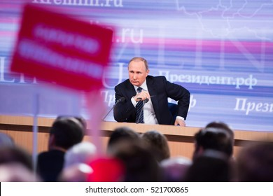 MOSCOW, RUSSIA - DEC 17: The President of the Russian Federation Vladimir Vladimirovich Putin an annual press conference in Center of international trade in Moscow on 17 of December 2015, Russia