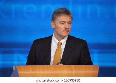 MOSCOW, RUSSIA - DEC 19, 2013: The Dmitry Peskov - Press Attache for the President of Russia Vladimir Putin, Deputy head of the Presidential at annual press conference in Center of international trade