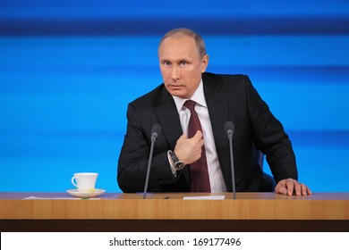MOSCOW, RUSSIA - DEC 19, 2013: The President of the Russian Federation Vladimir Vladimirovich Putin annual press conference in Center of international trade