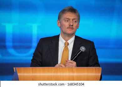 MOSCOW, RUSSIA - DEC 19: The Dmitry Peskov - Press Attache for the President of Russia Vladimir Putin, Deputy head of the Presidential at annual press conference in Center of international trade