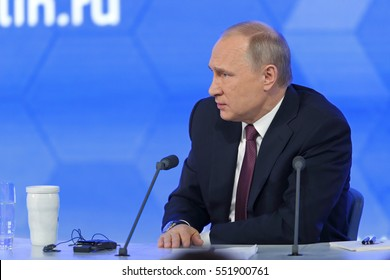 MOSCOW, RUSSIA - DEC 23, 2016: The President of the Russian Federation Vladimir Vladimirovich Putin with eyes closed at the annual press conference in Center of international trade