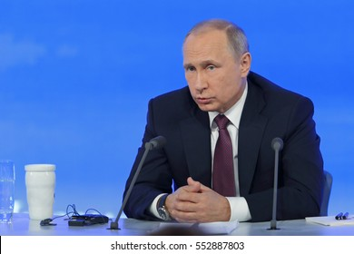 MOSCOW, RUSSIA - DEC 23, 2016: The President of the Russian Federation Vladimir Vladimirovich Putin  at the annual press conference in Center of international trade