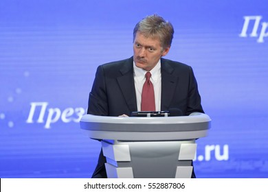 MOSCOW, RUSSIA - DEC 23, 2016: The Dmitry Sergeyevich Peskov - Press Attache for the President of Russian Federation Vladimir Putin, Deputy head of the Presidential at annual press conference