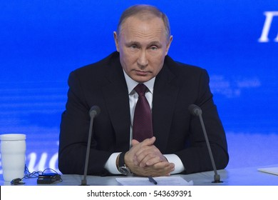 MOSCOW, RUSSIA - DEC 23: The President of the Russian Federation Vladimir Vladimirovich Putin an annual press conference in Center of international trade in Moscow on 23 of December 2016, Russia