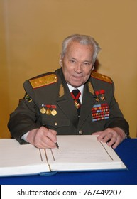 MOSCOW, RUSSIA - Dec 26, 2007: Mikhail Timofeyevich Kalashnikov, Soviet and Russian small arms designer, doctor of technical Sciences, Lieutenant-General
