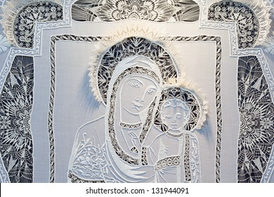 MOSCOW, RUSSIA - DEC 8: Madonna and Child, Exhibition Rook in Presnya Decrmber 08, 2010 in Moscow, Russia.