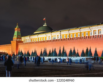 MOSCOW, RUSSIA - December 03, 2017. Night view on Red square. Kremlin walls, Senate tower and dome of  The Kremlin Senate palace.