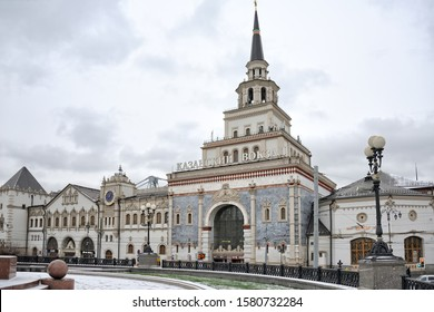 MOSCOW, RUSSIA - December 04, 2019 View from Komsomolskaya (former Kalanchevskaya) square on the main buildings of magnificent Kazansky Railway Station on a cloudy winter day.
