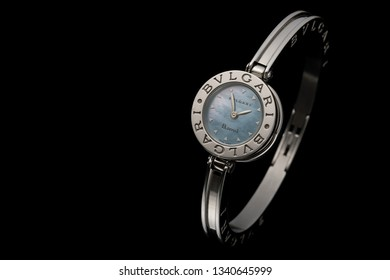 Moscow, Russia. December 05 2015. Bvlgari. Luxury expensive lady's watch.. Copy space. Black background