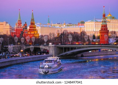 Moscow, Russia - December, 1, 2018: the image of the pleasure craft on the Moskva River