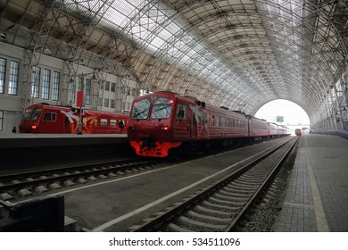 MOSCOW, RUSSIA - DECEMBER 10, 2016: Kievskiy railway station. Train platform