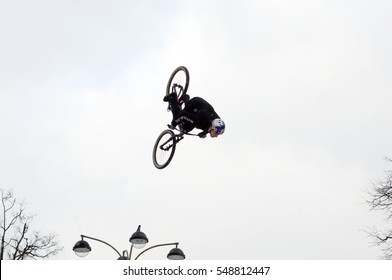 MOSCOW, RUSSIA - DECEMBER 10, 2016: Unidentified rider jump on bike trampoline on Winter game season opening event on December 10, 2016