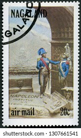 MOSCOW, RUSSIA - DECEMBER 10, 2018: A stamp printed in India state Nagaland shows Napoleon I Bonaparte (1769-1821), Institue Napoleon, The Legion of Honour, 1972