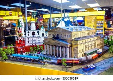 MOSCOW, RUSSIA - DECEMBER 11, 2015: russian sights buildings made of lego blocks in Central Children's Store on Lubyanka