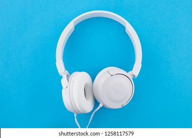 Moscow, Russia - December 11, 2018: Headphones JBL T450 White.