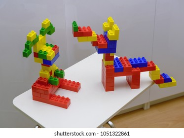 MOSCOW, RUSSIA - DECEMBER 12, 2014: Fun figures of two dogs that built from Lego blocks by Lyudmila Samokhina.