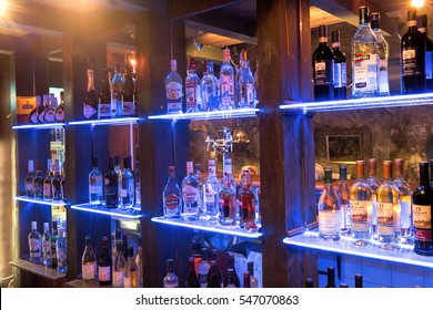 Moscow, Russia - December 12, 2016: Bottles of alcohol behind the bar