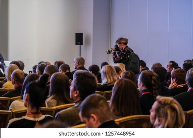 Moscow, Russia - December, 13, 2018: people on a conference in Moscow, Russia
