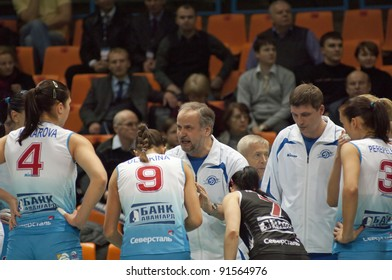 MOSCOW, RUSSIA - DECEMBER 14 : Unidentified players and coaches of volleybal team Dinamo on European League woman's game Dinamo Russia vs Red Star Serbia on December 14, 2011 in Moscow, Russia