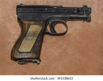 MOSCOW, RUSSIA- DECEMBER 16- 6.35-mm pistol Mauser sample 1910/1934's, Germany at the Central Museum of the armed forces  on December 16; 2015 in Moscow