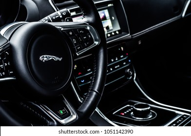 MOSCOW, RUSSIA - DECEMBER 17, 2017 JAGUAR XE R-Sport sedan car, interior view. Test of new car - Jaguar XE 2,0 T AWD R-Sport. Premium-class saloon and I4 engine. 250-horsepower I4 engine.
