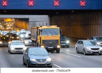 Moscow, Russia - December, 17, 2017: traffic jam in Moscow