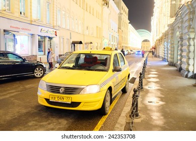Moscow, Russia, December, 18, 2014: yellow taxi in Moscow