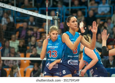 MOSCOW, RUSSIA - DECEMBER 2, 2015: N. Obmochaeva (Dynamo (MSC) 8 while playing on women's Rissian volleyball Championship game Dynamo (MSC) vs Dynamo (KZN) at the Luzhniki stadium in Moscow, Russia