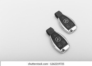 MOSCOW, RUSSIA - DECEMBER 2, 2018: Mercedes Benz car key on a smooth background