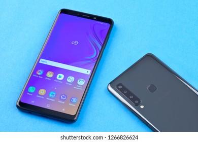 Moscow, Russia - December 20, 2018: Samsung Galaxy A9 Black.