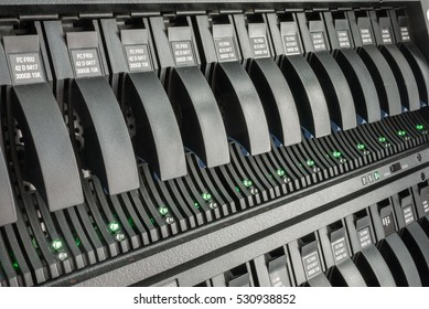 MOSCOW, RUSSIA - DECEMBER, 2016: storage - element of disk array for storing big data at cloud infrastructure