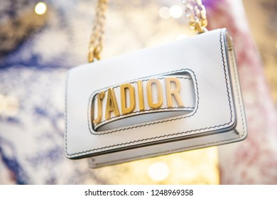 Moscow, Russia - December, 2018: Fashion Week Dior shopping. Luxury store Dior in Moscow.
