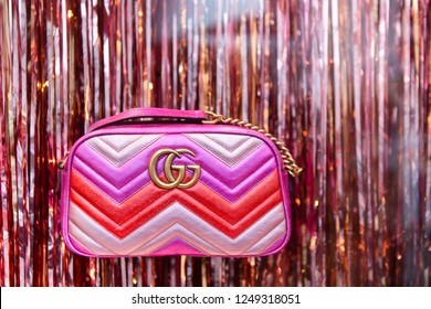 Moscow, Russia - December, 2018: Fashion Week Gucci shopping. Collection Fall Winter 2019 - Spring Summer 2019, Pre-Fall, Eclectic. GG Marmont Chain Handbag In Pink. Luxury store Gucci in Moscow.