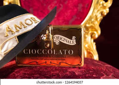 Moscow, Russia - December, 2018: Fashion Week Dolce & Gabbana shopping. Amor And Cioccolato in Luxury store D&G (Dolce&Gabbana) in Moscow.