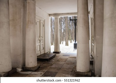 """Moscow, Russia - December 21, 2016.: Columns inside the pavilion """"Milovida"""" in the Park of the Museum reserve """"Tsaritsyno"""" in Moscow."""