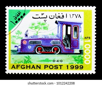 MOSCOW, RUSSIA - DECEMBER 21, 2017: A stamp printed in Afghanistan shows Pittsburg Limestone Co. 0-4-0 diesel locomotive, Locomotives serie, circa 1999