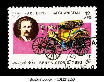 MOSCOW, RUSSIA - DECEMBER 21, 2017: A stamp printed in Afghanistan shows Benz Viktoria two-seater (1893) and Karl Benz, Motor Cars serie, circa 1984