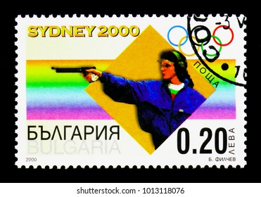 MOSCOW, RUSSIA - DECEMBER 21, 2017: A stamp printed in Bulgaria shows Shooting, Summer Olympics 2000, Sydney serie, circa 2000