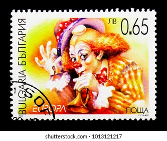 MOSCOW, RUSSIA - DECEMBER 21, 2017: A stamp printed in Bulgaria shows Clown, Europa (C.E.P.T.) 2002 - Circus serie, circa 2002