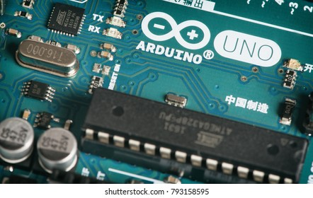 Moscow, Russia - December 21, 2017: Arduino UNO board close up. Microcontroller for programming and prototyping