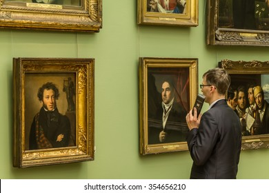MOSCOW, RUSSIA - DECEMBER 22, 2015: The State Tretyakov Gallery is an art gallery in Moscow, Russia, the foremost depository of Russian fine art in the world. Gallery's history starts in 1856.