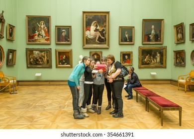 MOSCOW, RUSSIA - DECEMBER 22, 2015: The State Tretyakov Gallery is an art gallery in Moscow, Russia, the foremost depository of Russian fine art in the world. Warm light effect.