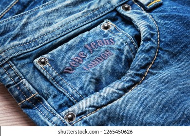 Moscow, Russia - December 23, 2018: Close-up of pocket of Pepe Jeans