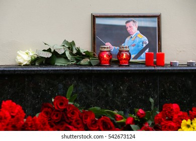 MOSCOW, RUSSIA - DECEMBER 25, 2016: Portrait of Russia chief military conductor, Lieutenant General Valery Khalilov, head Alexandrov Academic Ensemble of Song and Dance of the Russian Army.
